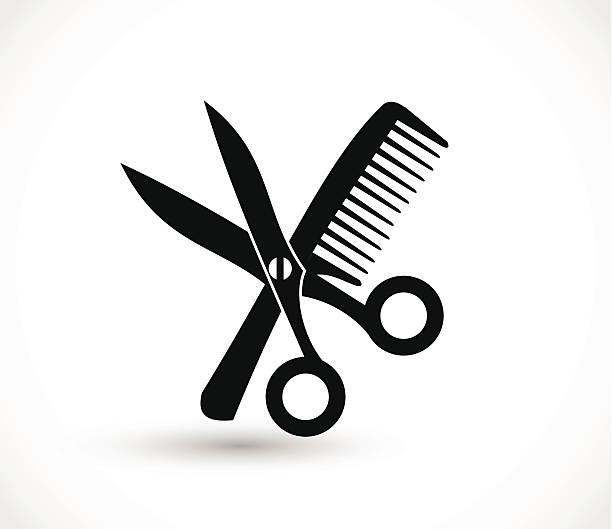ilustraciones, imágenes clip art, dibujos animados e iconos de stock de icono de vector de tijeras y peine - peinado