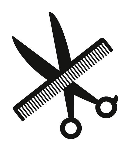 kamm und schere - kamm stock-grafiken, -clipart, -cartoons und -symbole