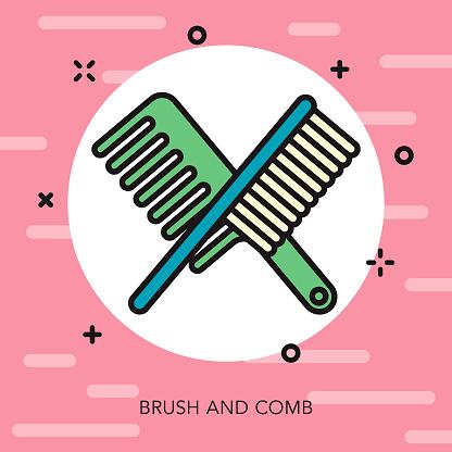 Comb & Brush Thin Line Beauty Icon