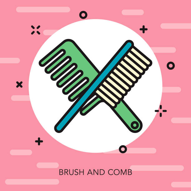 comb & brush thin line beauty icon - thin line fonts stock illustrations