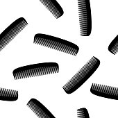 Vector illustration of black combs in a repeating pattern against a white background.