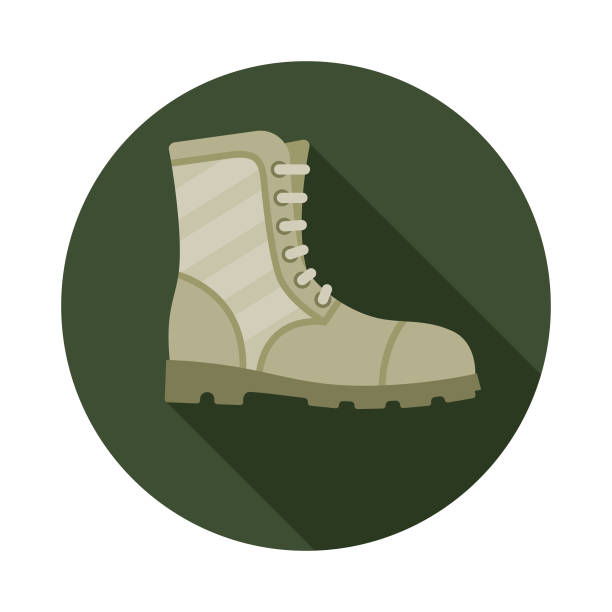 combat boots military icon - boot stock illustrations