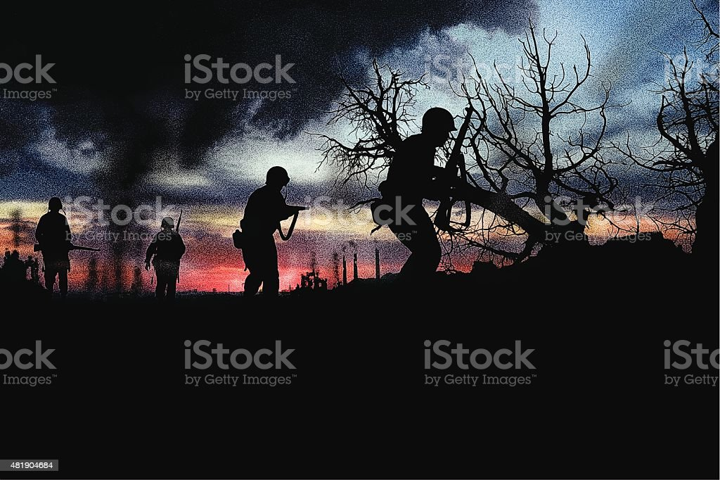 Combat Infantry Soldiers Fighting War vector art illustration