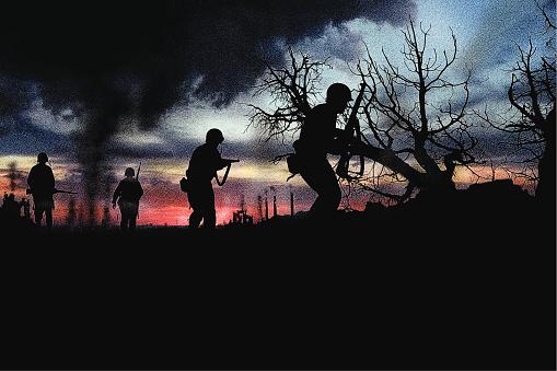 Combat Infantry Soldiers Fighting War向量圖形及更多2015年圖片