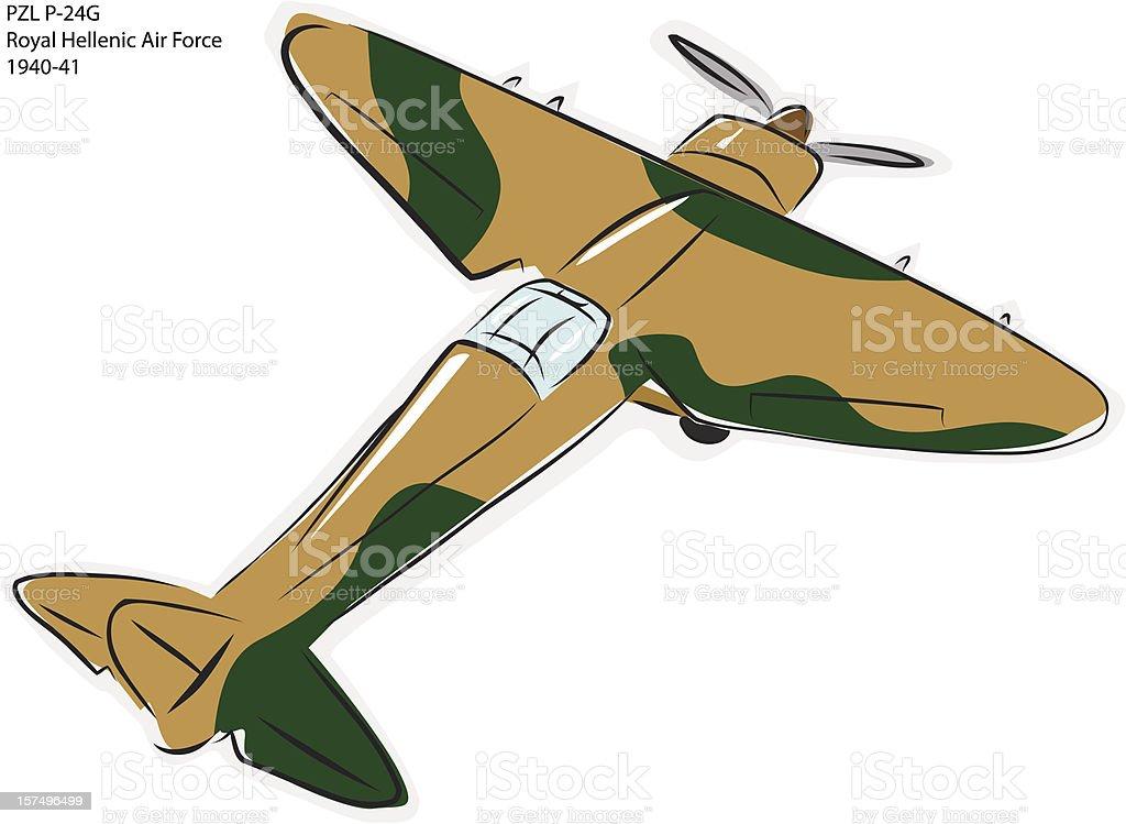 PZL P-24G WW2 Combat Plane royalty-free stock vector art