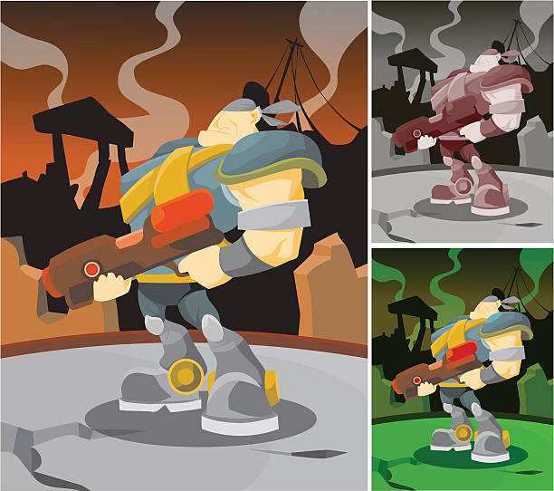 Combat Soldier vector art illustration