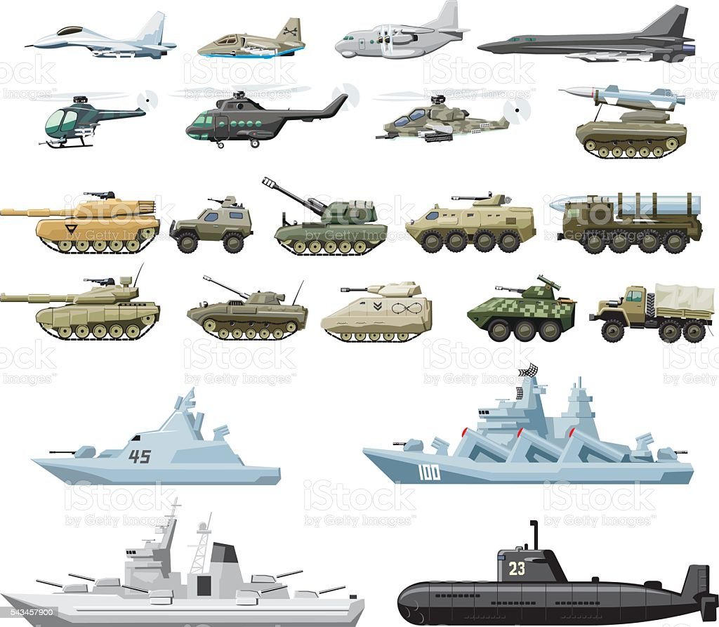 combat vehicle plane and boats vector art illustration