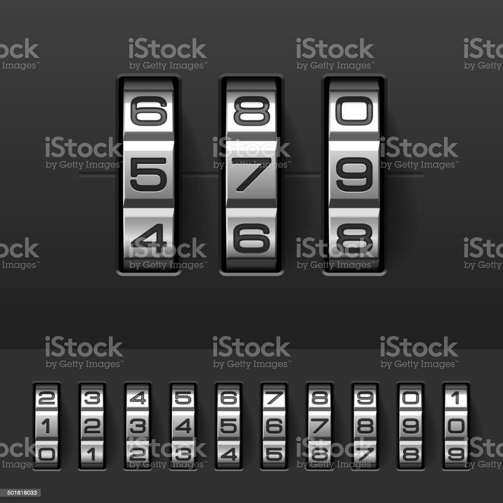 Combination, code lock numbers vector art illustration