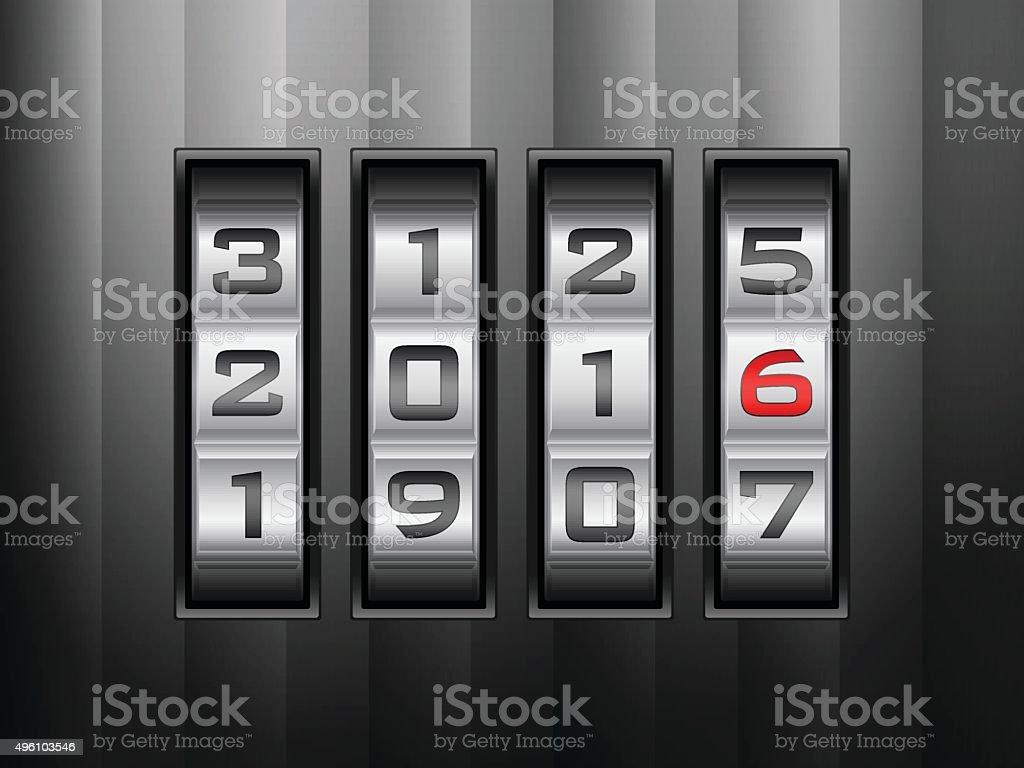 combination lock 2016 vector art illustration
