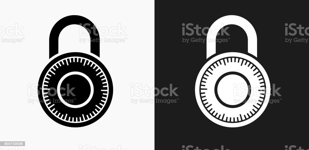 Combination Lock Icon on Black and White Vector Backgrounds vector art illustration