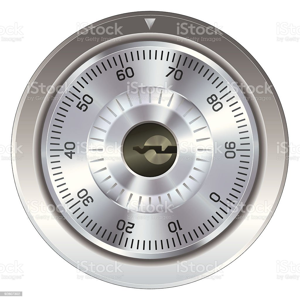 Combination lock on a safe or vault royalty-free stock vector art
