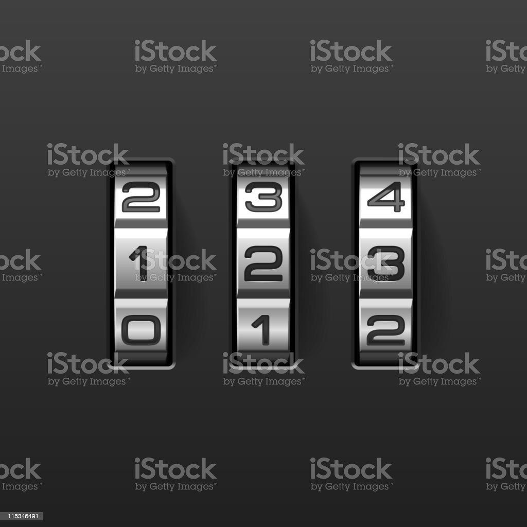 Combination lock set to be numbers 1, 2, and 3 vector art illustration
