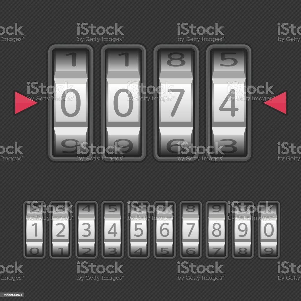 Combination lock set. vector art illustration