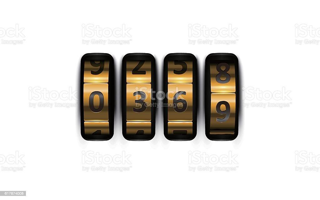Combination lock vector art illustration