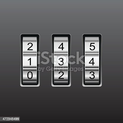 Combination lock with number code, EPS file version 10.(no effects)