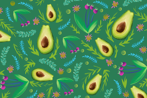 Combination of avocado and decorative flowers