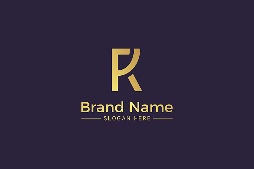 Combination of letter R and K golden symbol isolated on purple background. RK monogram