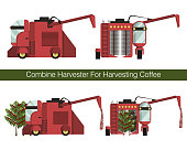 Combine harvester for mechanized harvesting coffee berries in the plantations. Equipment in the process. Set of flat vector icon. Isolated objects on white background