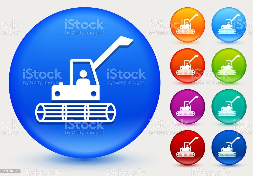 Combiner l'icône Harvester sur cercle de couleur brillante boutons combiner licône harvester sur cercle de couleur brillante boutons – cliparts vectoriels et plus d'images de agriculture libre de droits