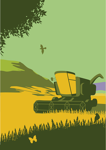 Retro style landscape with combine harvester. CS3 and CS5 versions.