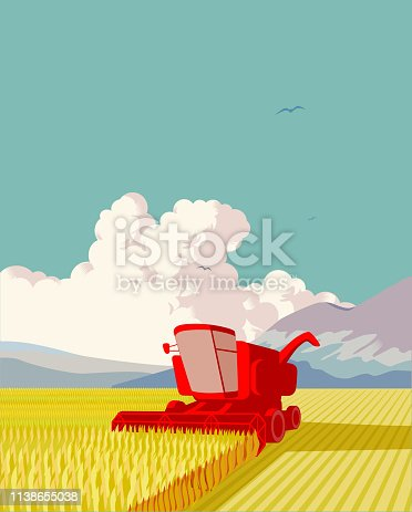 Landscape with combine harvester