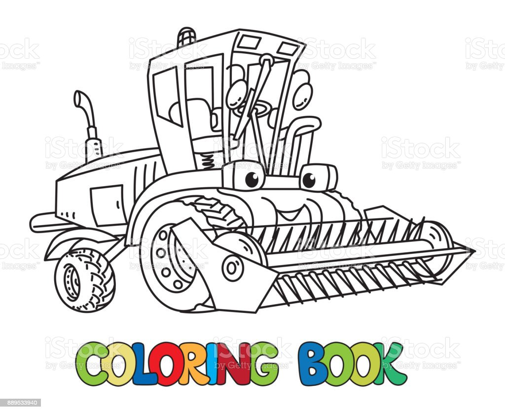 Combine Or Lawn Mower With Eyes Coloring Book Stock ...