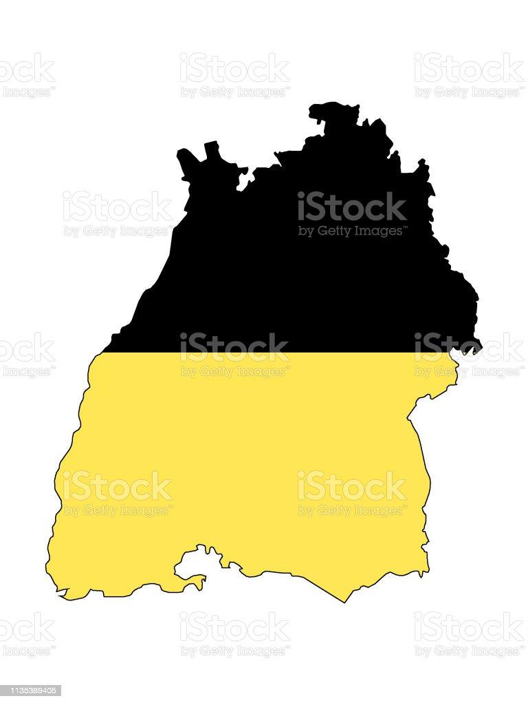 Baden Württemberg Karte.Kombinierte Flagge Und Karte Des Landes Badenwürttemberg Stock