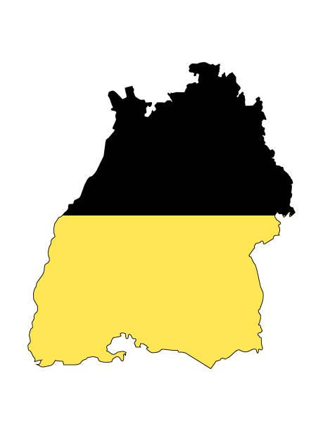 kombinierte flagge und karte des landes baden-württemberg - kanzlerin stock-grafiken, -clipart, -cartoons und -symbole