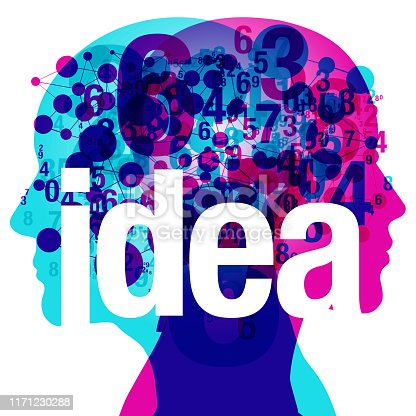 """A female and male side silhouette profile overlaid with various blending semi-transparent numerals and line connected circular shapes. Centre placed is the word """"idea""""."""