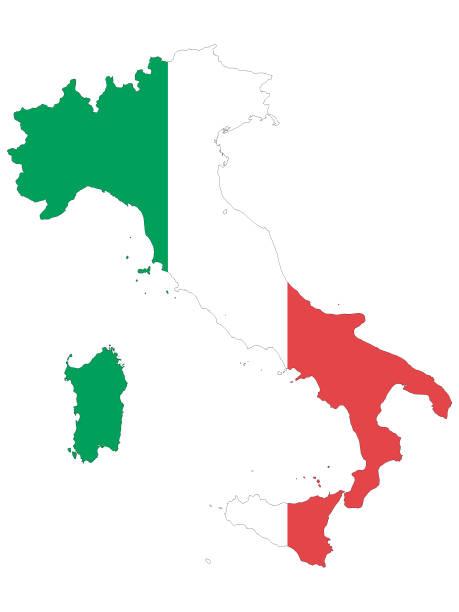 kombinierte karte und flagge italiens - padua stock-grafiken, -clipart, -cartoons und -symbole