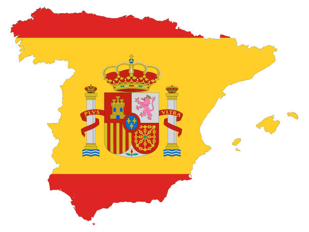 kombinierte karte und flagge von spanien - alicante stock-grafiken, -clipart, -cartoons und -symbole