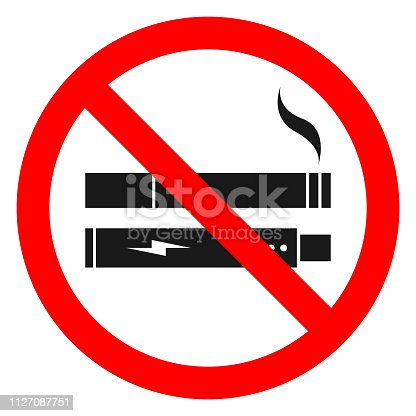 NO SMOKING, NO VAPING combined sign. Printable sticker. Vector.