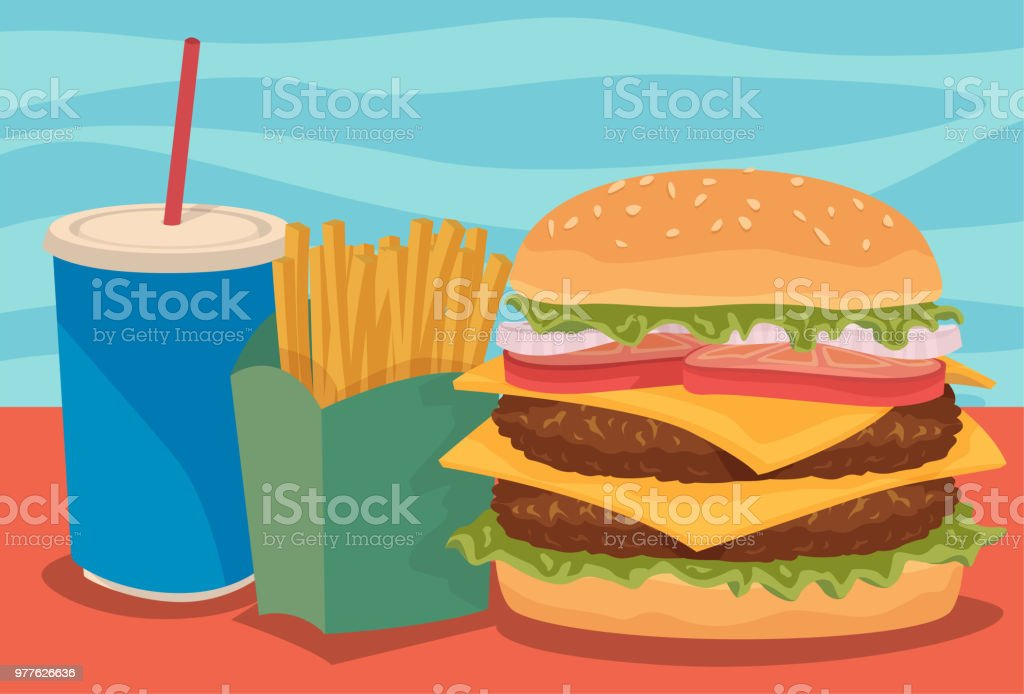 Combo Meal vector art illustration