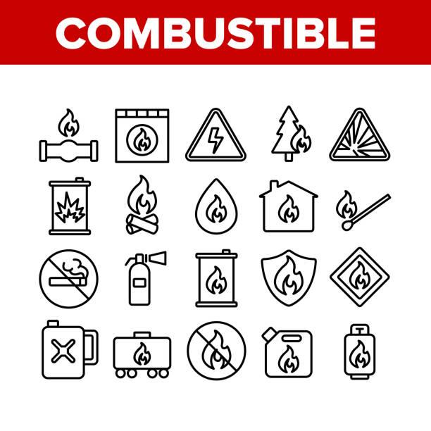 ilustrações de stock, clip art, desenhos animados e ícones de combustible products collection icons set vector - inflamável
