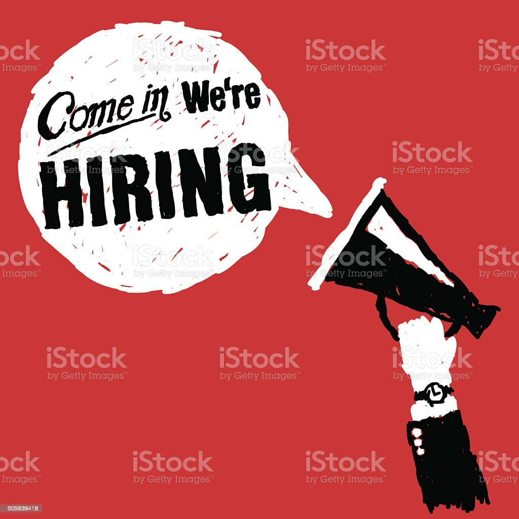 Come In We Are Hiring vector art illustration
