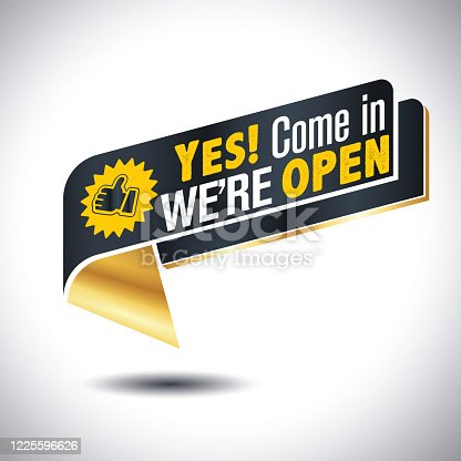Come in we are open isolated in sticker icon