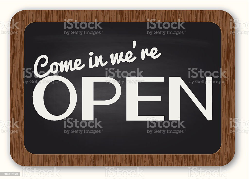 Come in we're open sign royalty-free stock vector art