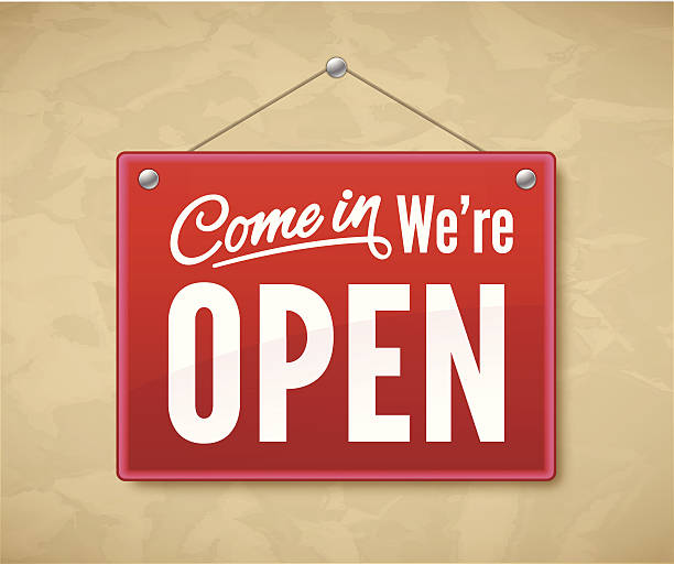 come in we're open - open sign stock illustrations