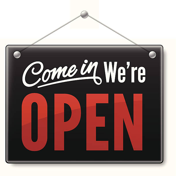 Come In We're Open Come In We're Open business sign. EPS 10 file. Transparency effects used on highlight elements. open sign stock illustrations