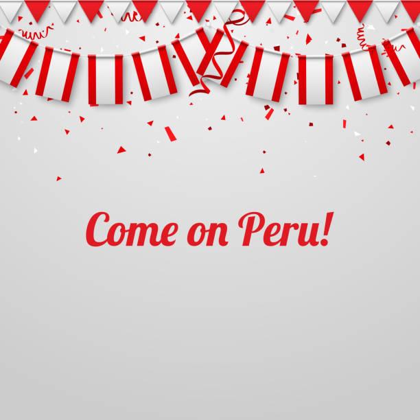 Kommen Sie auf Peru! Hintergrund mit Nationalflaggen. – Vektorgrafik