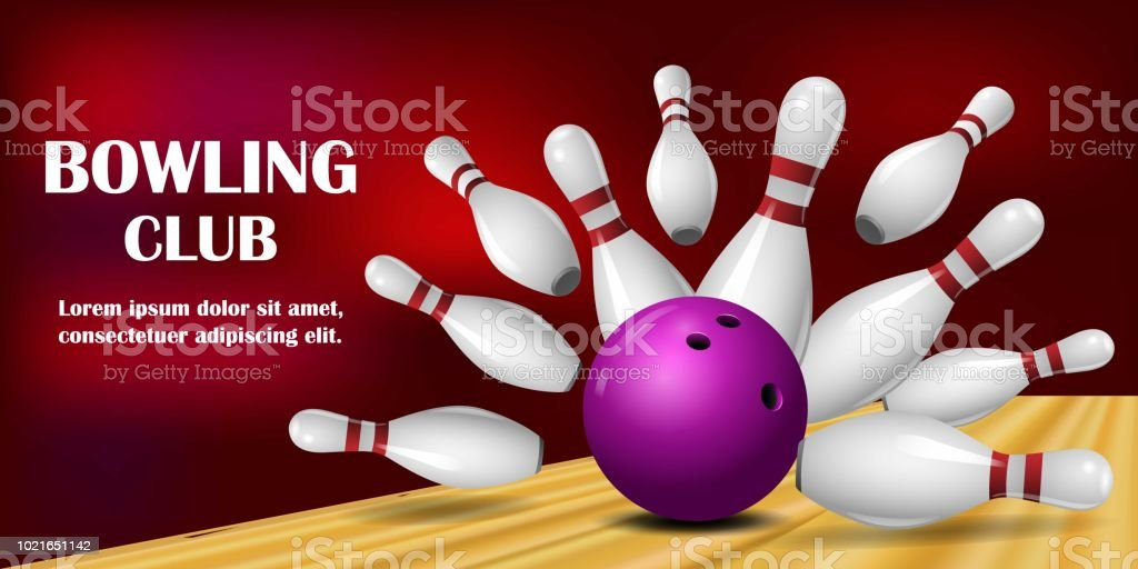 Come to bowling banner, realistic style vector art illustration