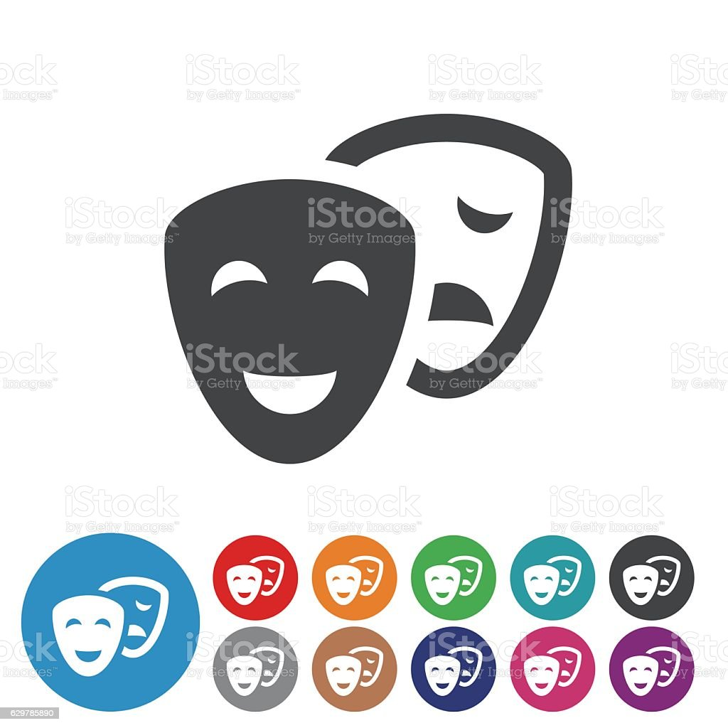 Comedy and Tragedy Icons - Graphic Icon Series vector art illustration