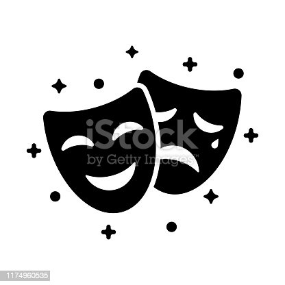 istock Comedy and tragedy masks. Black icon funny and sad mask, cartoon style. 1174960535