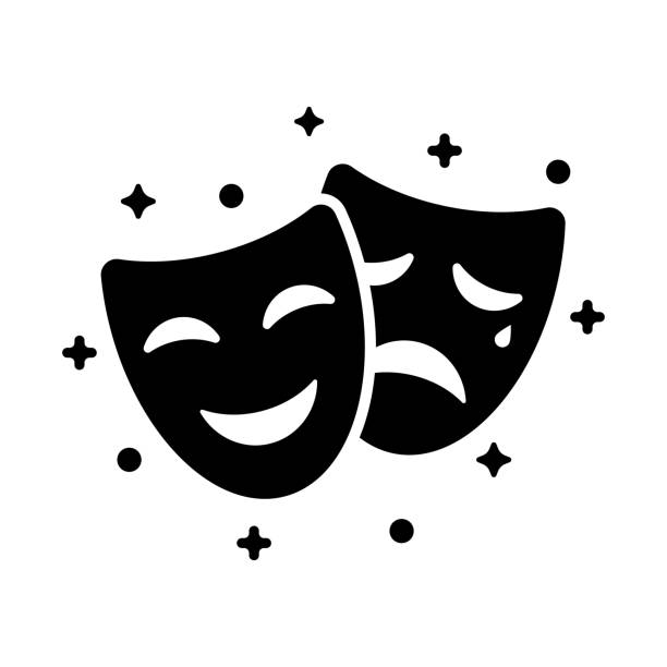 Comedy and tragedy masks. Black icon funny and sad mask, cartoon style. Comedy and tragedy masks. Black icon funny and sad mask, cartoon style. Happy and unhappy traditional symbol of theater. Vector illustration flat design. Isolated on white background. theatrical performance stock illustrations