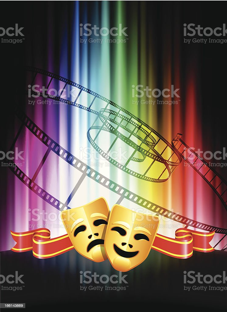 Comedy and Tragedy Masks on Abstract Spectrum Background royalty-free stock vector art