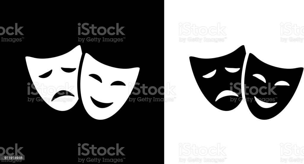 Comedy And Tragedy Masks. vector art illustration