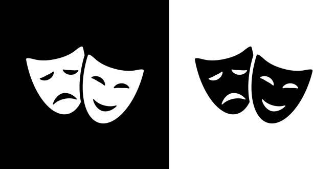 stockillustraties, clipart, cartoons en iconen met komedie en tragedie maskers. - toneel