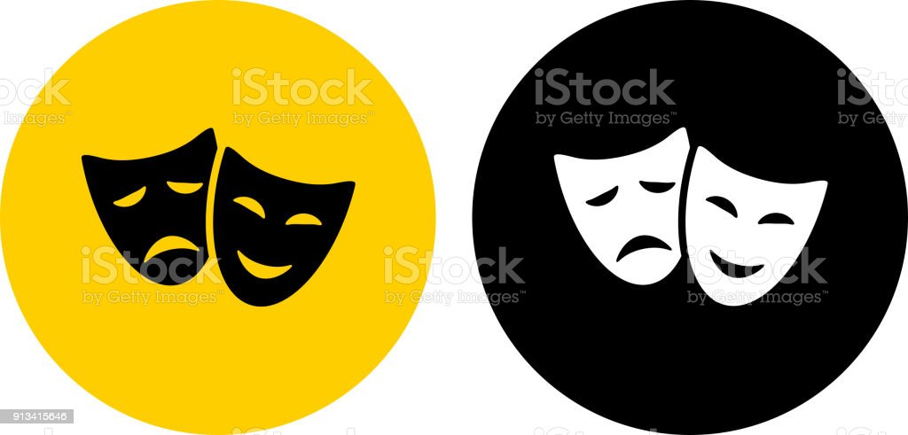 royalty free drama masks icon on flat color circle buttons clip art rh istockphoto com