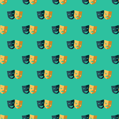 Comedy and Tragedy Seamless Pattern
