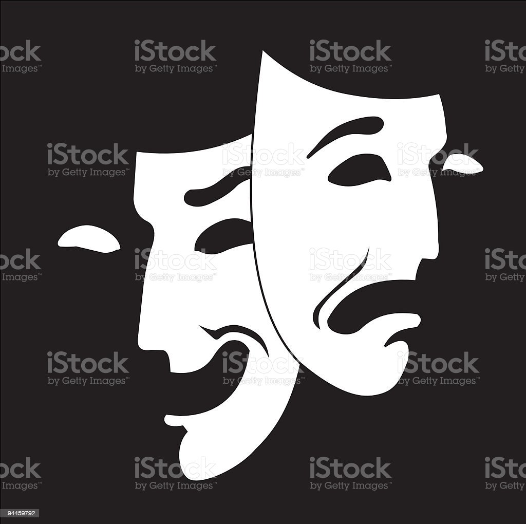 Comedy and tragedy theater mask white on black background royalty-free comedy and tragedy theater mask white on black background stock vector art & more images of acting